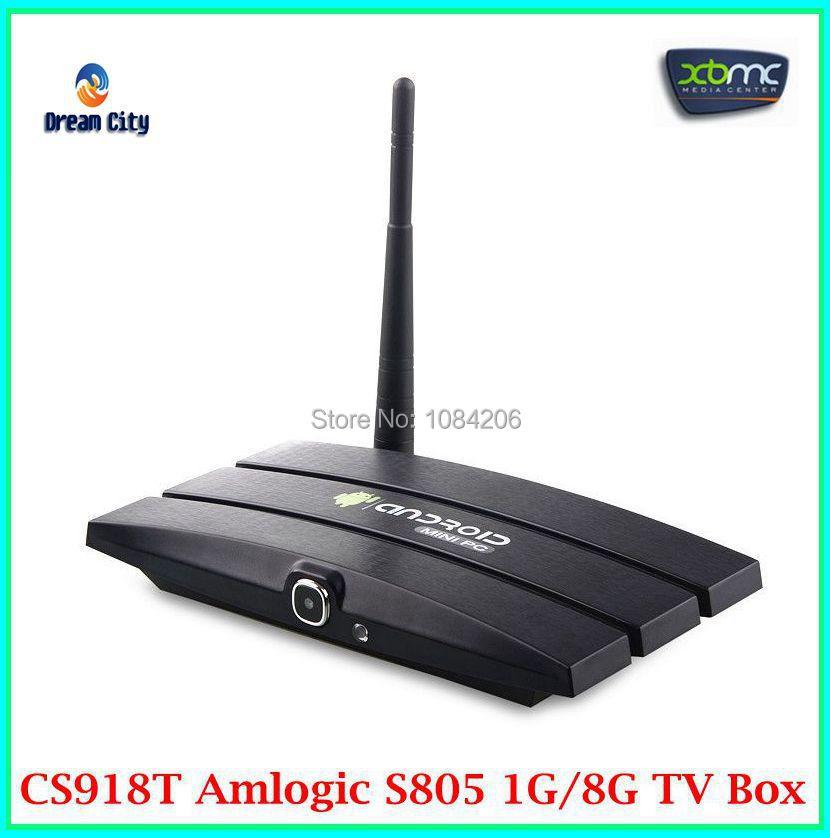 CS918T Android 4.4 TV Box Amlogic s805 Quad core 1GB RAM 8GB ROM XBMC WiFi Bluetooth CS918 T Web camera RJ45 AV OUT(China (Mainland))