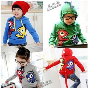 Wholesale1Lot=5pcs Cutebell Cartoon Dinosaur Hoodies Children's Clothing Boy's Girl's Top Shirts Hoodies Sweater Hoody Coat(China (Mainland))