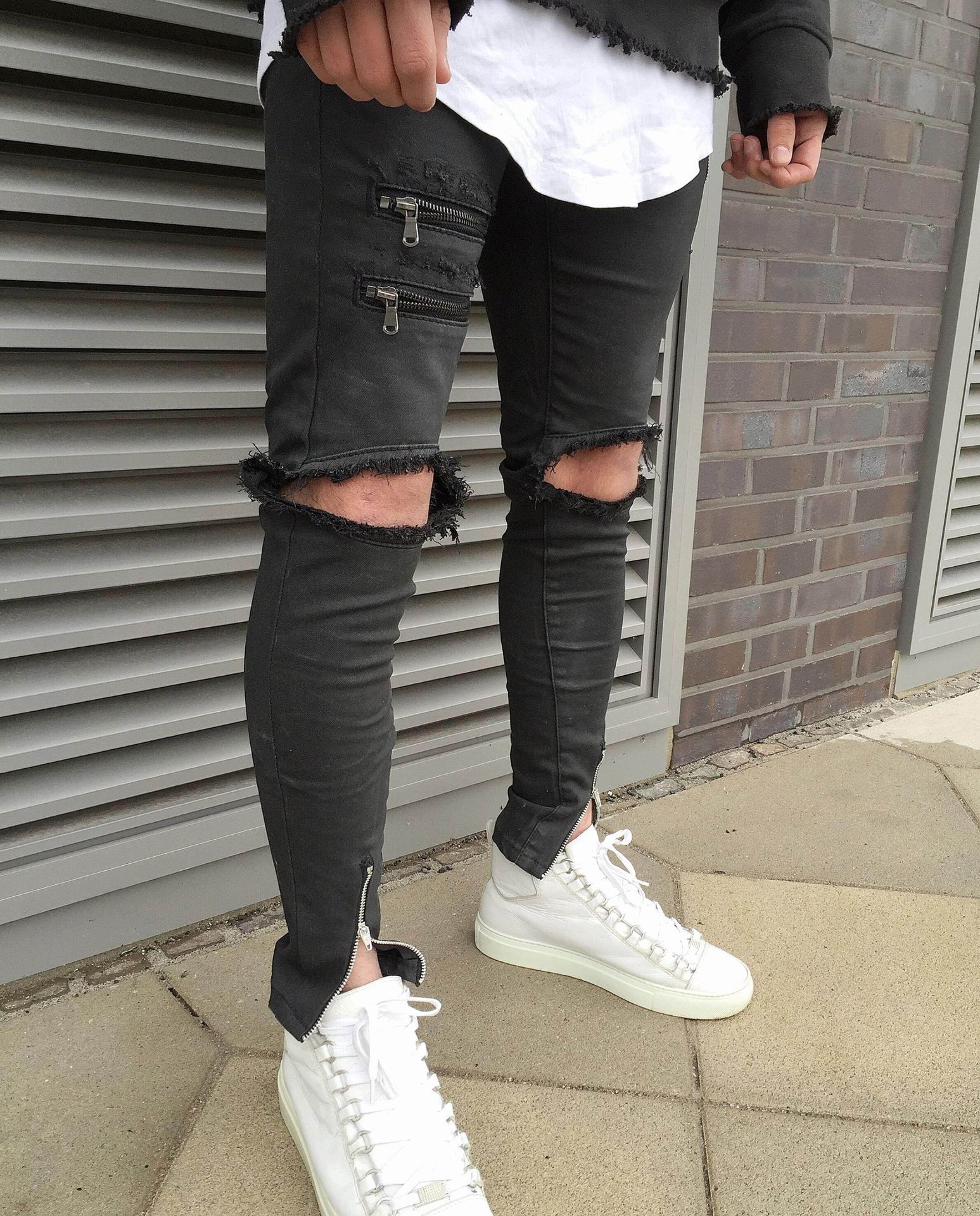 TOP men's designer man pants brand slp zipper justin bieber rockstar black distressed ripped skinny fear of god jeans