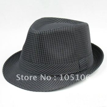 Unisex Caps Classical Black Grid iFedora Hats Hat Solid Stingy Brim Cap Gangster Black Grey Color Free Shipping