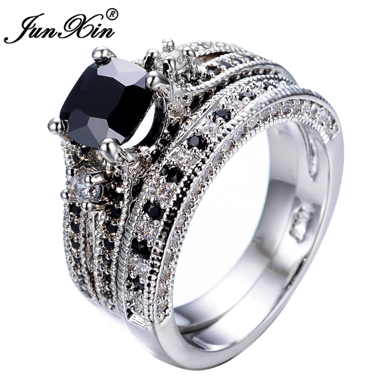 Gorgeous Black Sapphire Crystal Ring Sets Promise Engagement Rings For Women