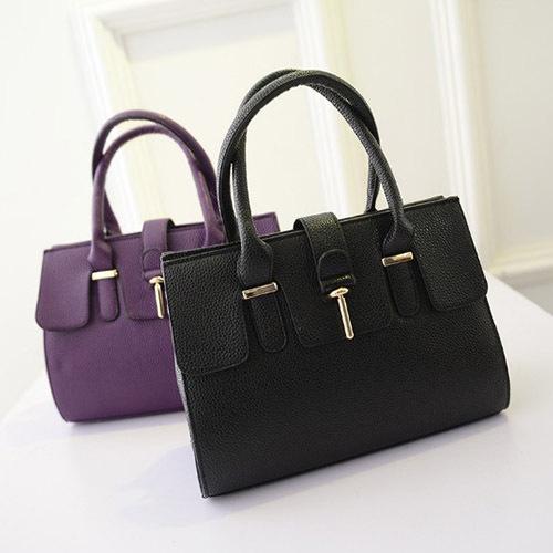 2015 New Fashion Hot Women Retro Zipper PU Leather g re Colour Lady Tote Bag(China (Mainland))