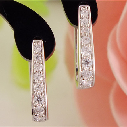 SHUANGR 1pair Silver U-Shape Hoop Earrings AAA Clear Cubic Zirconia Women Jewelry Elegant Tiny Hoop Earrings TB387(China (Mainland))