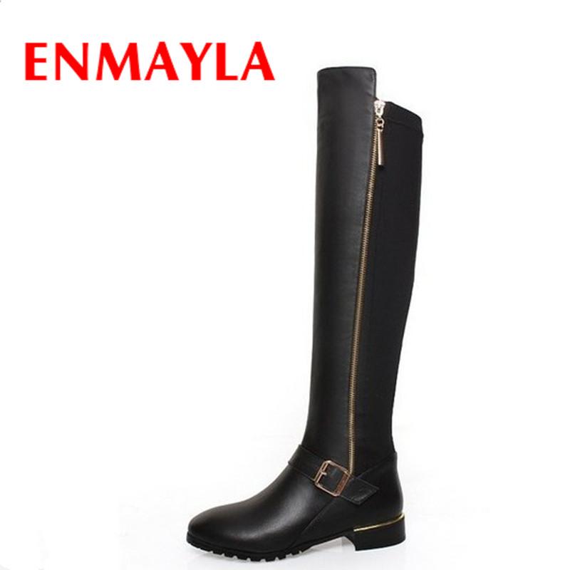 Фотография ENMAYLA New Women Knee-high Boots Shoes Woman Classic Black Shoes PU+Genuine Leather Round Toe Low Heels Winter Warm Boots Shoes