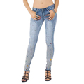 Low Waist Ripped Stretch Skinny Sequined Jeans for Women Rhinestone Full Length Light Blue