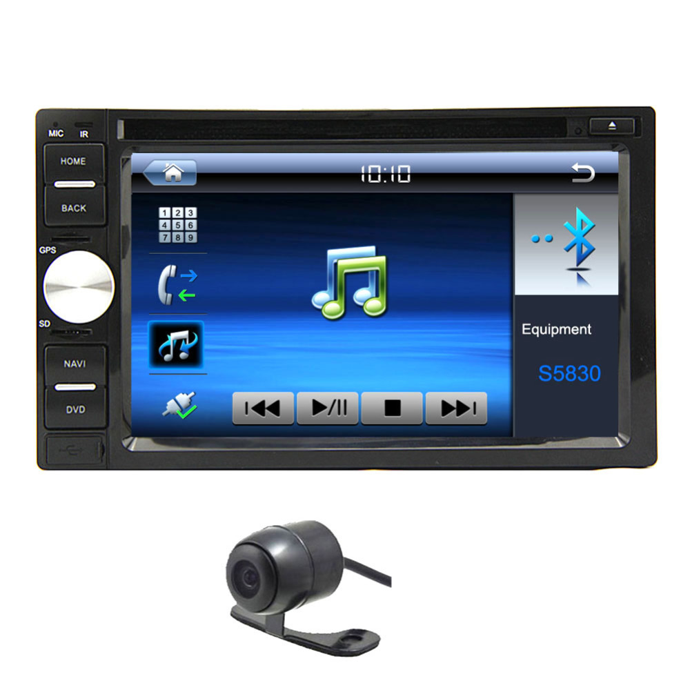 6.2 Inch HD Resolution Touch Screen Double Din Car DVD Two Din Car Radio 2 Din Car Bluetooth Car Stereo Headunit + Free Camera(China (Mainland))