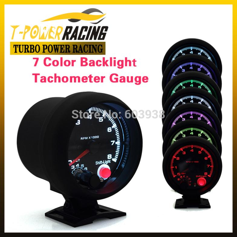 """Universal 3 3/4"""" tachometer with 7 colors led 0-8000RPM Black case and rim /auto meter/auto gauge/Tachometer/Car meter(China (Mainland))"""