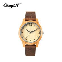 De moda Simple sándalo reloj creativo Mens relojes de madera correa de cuero reloj pulsera de cuarzo hombre reloj Relogio Masculino 45(China)