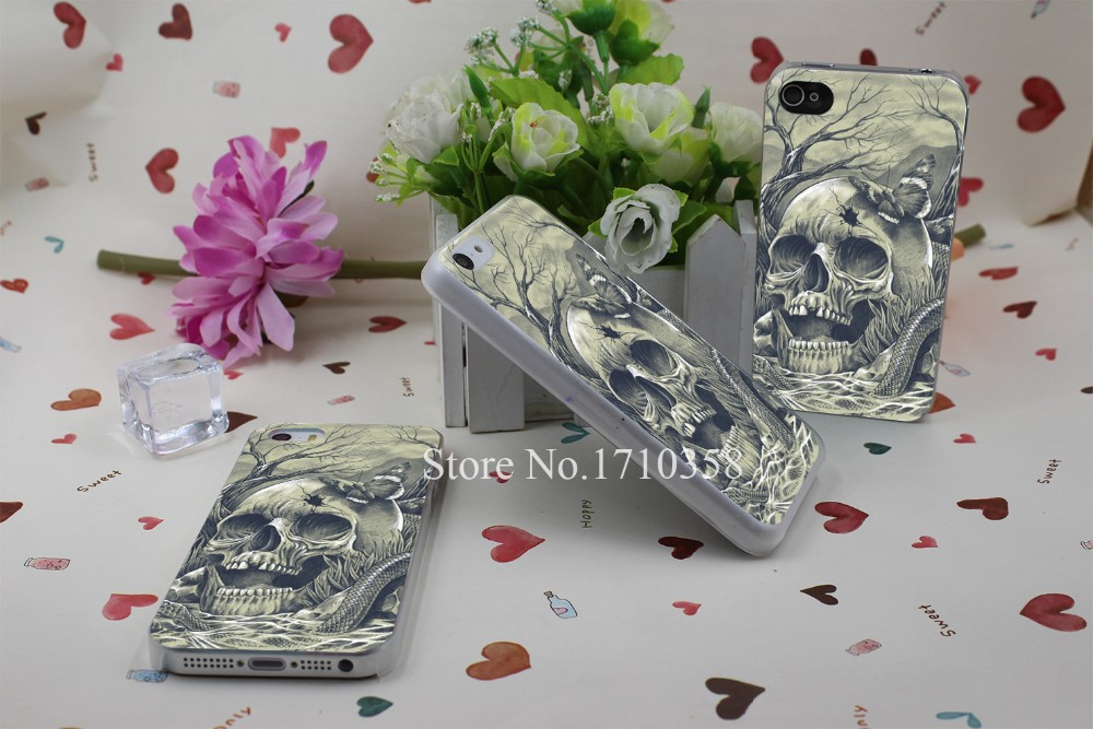 skull Hard Plastic Clear Back Transparent Style Case Cover for iPhone 7 7 Plus 4 4s 5 5s 5c 6 6s 6 plus s