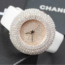 2015 Summer Women Full Rhinestone Watches Austria Crystal Diamond Stone Watch Big Dial Dress Watches Genuine Leather Wristwatch