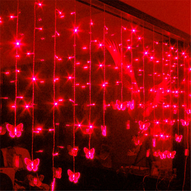 2m 104 SMD Curtain Light 16 Butterfly LED Background Garland Light Christmas Party Fairy Wedding Decoration(China (Mainland))