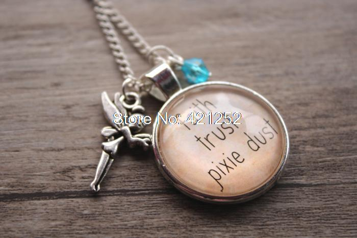 12pcs Peter Pan quot; Inspired Tinkerbell Necklace. Faith, Trust, Pixie Dust. Charm Pendant, crystal, for women or girls.(China (Mainland))