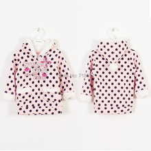 In Stock! Girls Winter Hoodies, Children dotted pink cute tops kid sweet soft clothes padded clothes 6pcs/lot d71(China (Mainland))