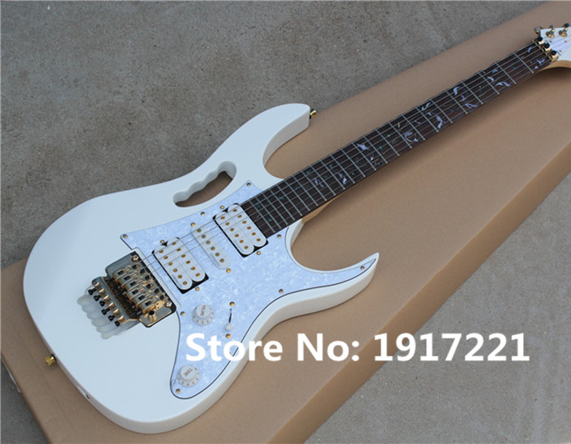 Hot Sale Electric Guitar with White Body and Tree of Life Fret Marks Inlay and Gold Floyd Rose,Scalloped Neck,can be Customized(China (Mainland))