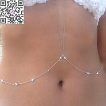 1PC New Sexy Summer Beach Bikini Accessories Chain Necklace Rhinestone Gold Tassel Body Chain Link Waist Belly Chain Women