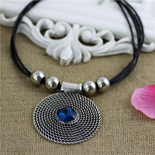 2014 New Jewelry Accessories Wedding Frozen Necklace To Restore Ancient Ways Round Crystal Black leather Cord Necklace For Women