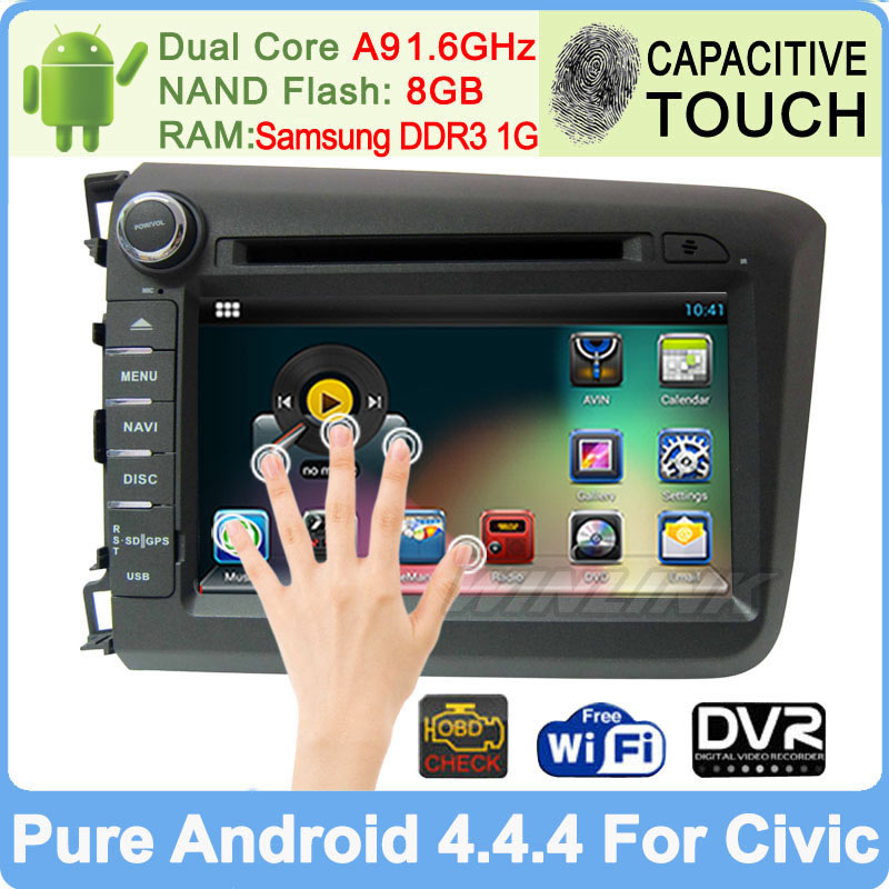 Android 4.4.4 Car DVD Player For Honda Civic 2012 with Radio GPS Navi Central Multimedia Dual Core Built-in WiFi DVR Support 3G(China (Mainland))