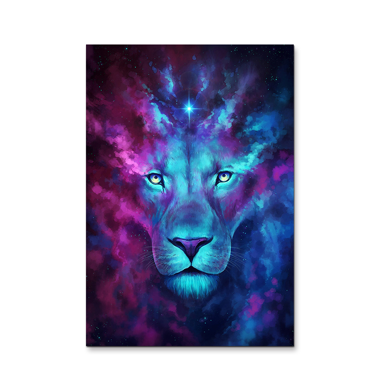 Modern Abstract Blue Lion Canvas Wall Art Oil Painting on Canvas Huge Home Decoration Unique Gift Artwork Pictures(China (Mainland))