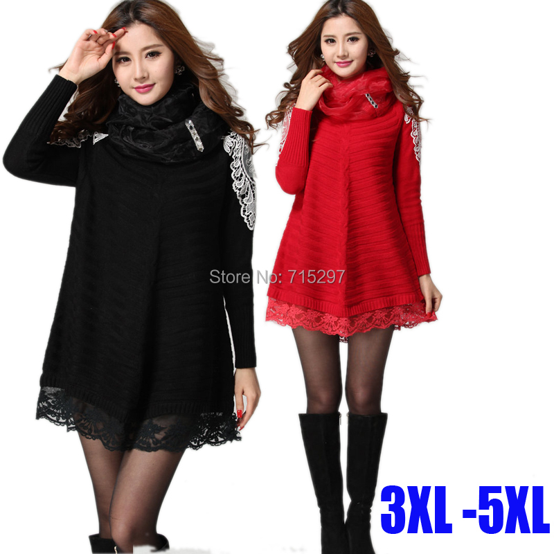 2015 new design fashion women clothing plus size lace hem loose knitted sweater dress long sleeve elegant patchwork Y3038 XXXXXLОдежда и ак�е��уары<br><br><br>Aliexpress