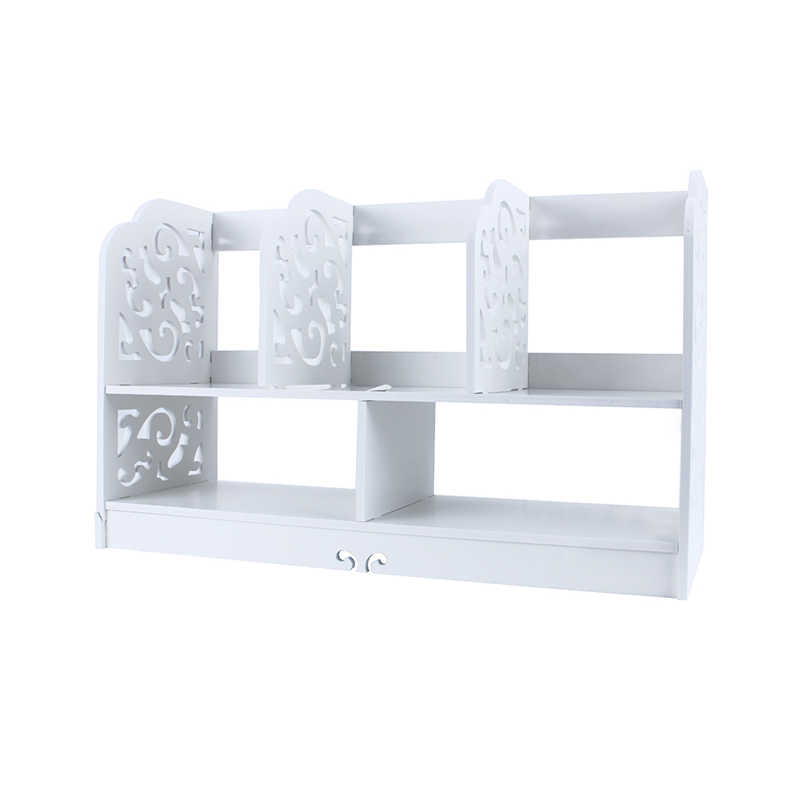 1Pcs 60*21.5*35cm White Wooden Bathroom Hollow Carved Large Bookcase Book Storage Shelf(China (Mainland))
