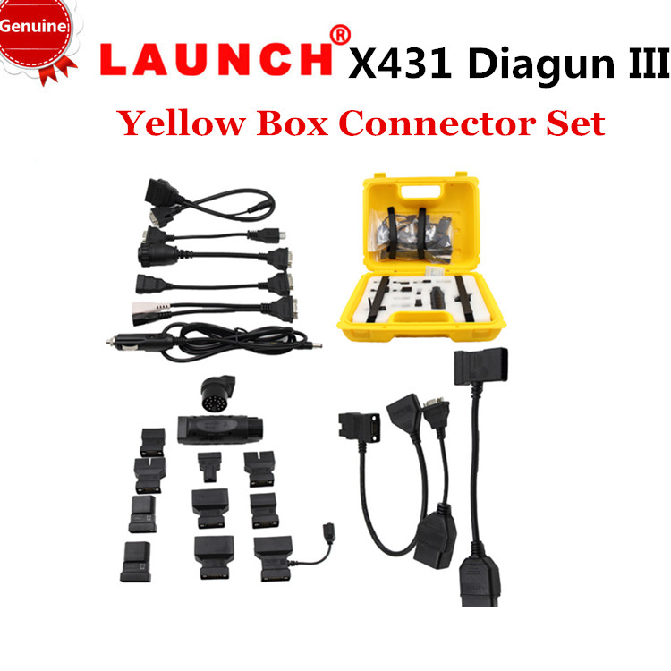 [Genuine]LAUNCH Free shipping+20% off ,2015 Original Launch X431 iDiag Connector Set Package X-431 Diagun iii 3 yellow box(China (Mainland))