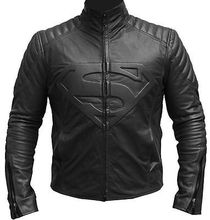 Superman Smallville Man of Steel Shield Genuine Black Synthetic Leather Jacket(China (Mainland))