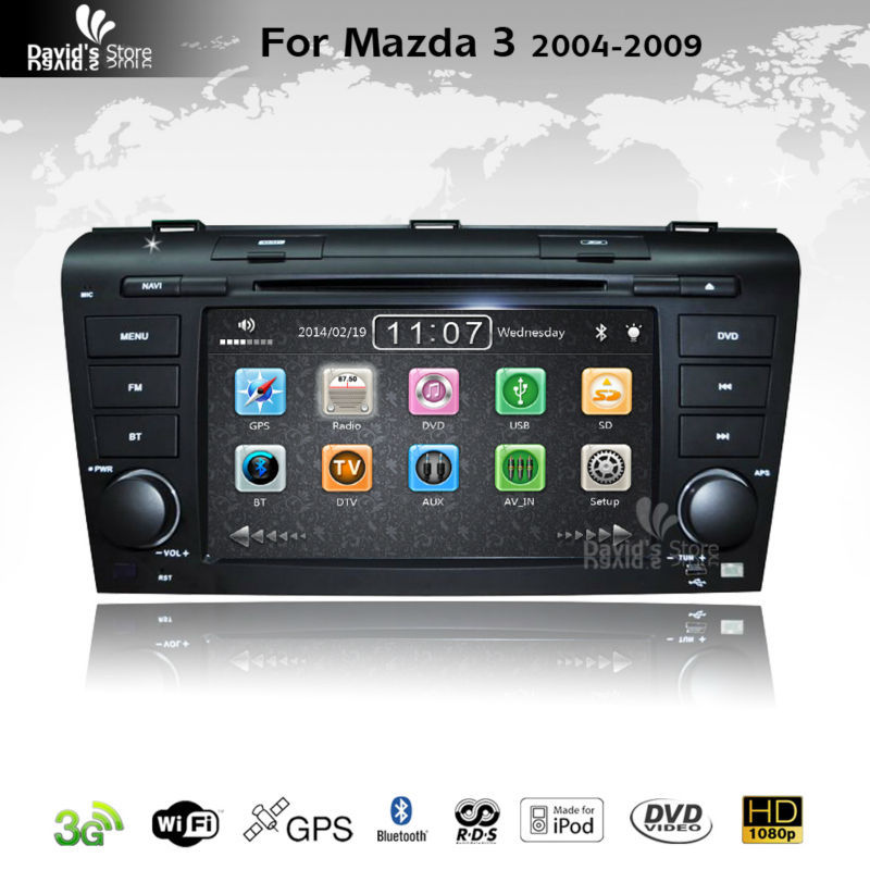 Indash Car DVD GPS Navigation Stereo Autoradio Headunit for Mazda 3 2004-2009 with 3G Wifi 1080P GPS Bluetooth RDS IPOD SWC(China (Mainland))