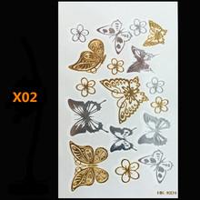 Butterfly gold metal henna tattoo flash gold temporary tattoo man fake tattoo largeglitter tattoo wave than art