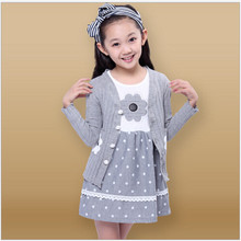 Girls Spring and Autumn 2015 New Children's Leisure Suits Long Princess Dot Floral Dress Cotton Girls Cardigan Overcoat Sets(China (Mainland))