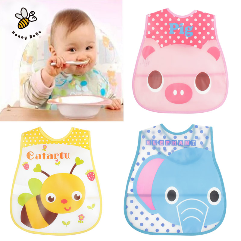 Baby Bibs EVA Waterproof Lunch Bibs Boys Girls Infants Cartoon Pattern Bibs Burp Cloths For Children