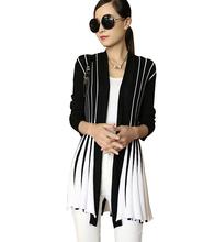 Leisure Slim Color Striped knit Cardigan shawl ladies Long sweater coat 2016 new women elastic big yards Sweaters Women Jacket