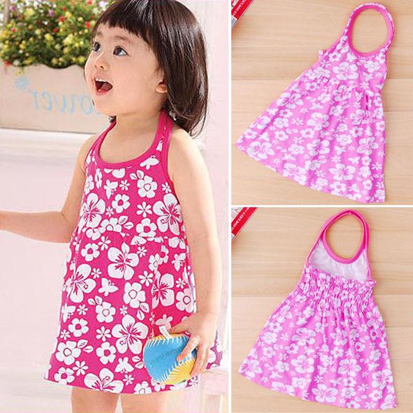 Sweety Girls Baby Floral Sundress Halter Neck Backless Beach Sling Dress 2-7Year<br><br>Aliexpress