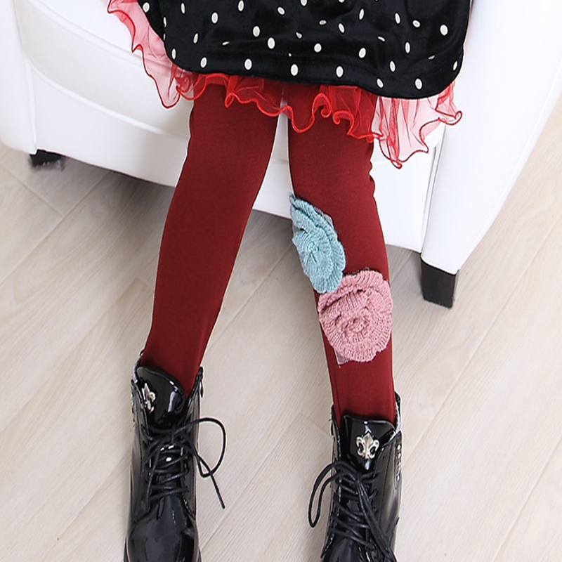 Winter Kids Leggings for Girls Children Very Warm Big Flower Style Knitted Cotton Baby Pants Clothes Trendy Thick Fur Trousers(China (Mainland))