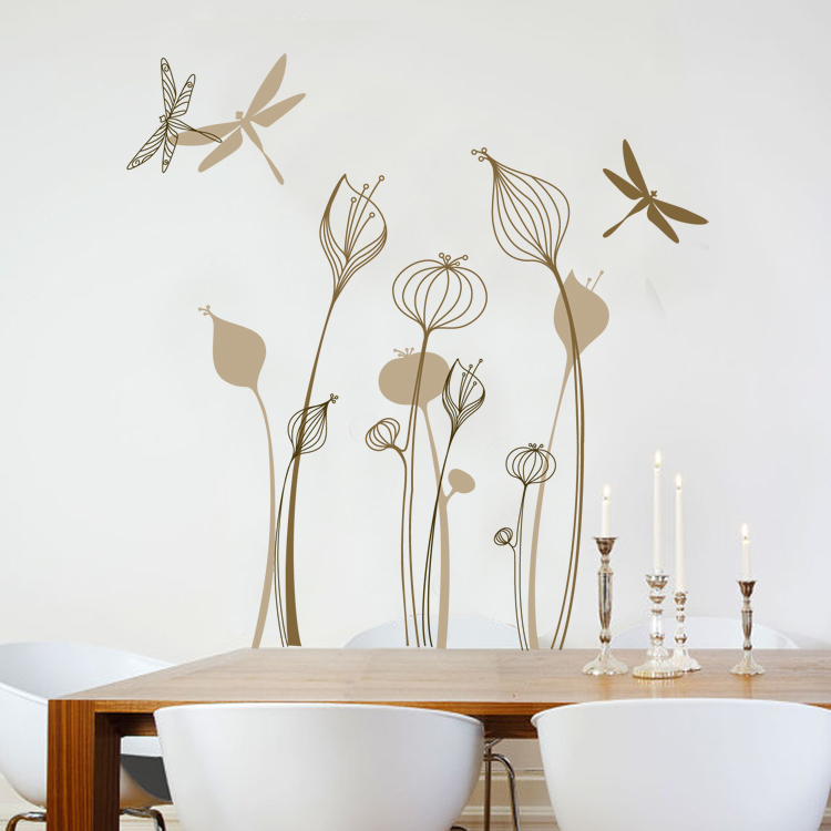 Free Shipping Light Brown Flower And Dragonfly Room Decor