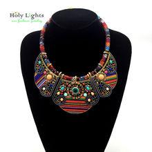 2016 New women bohemia necklace&pendants multicolor statement choker necklace za antique tribal ethnic boho jewelry mujer bijoux(China (Mainland))