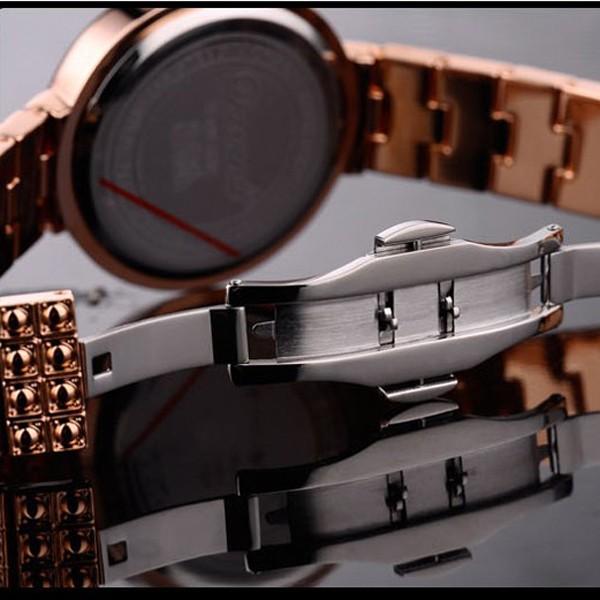 МАТИСС Леди Полный Кристалл Рамка & Наберите Сталь Ремешок Мода Наручные Часы-Золото