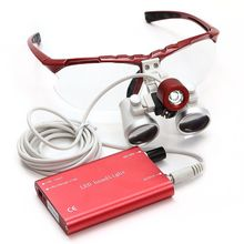 Shipping from USA* Red Dental Loupes Surgical Medical Binocular 3.5X 420mm LED Head Light Lamp CE/FDA(China (Mainland))