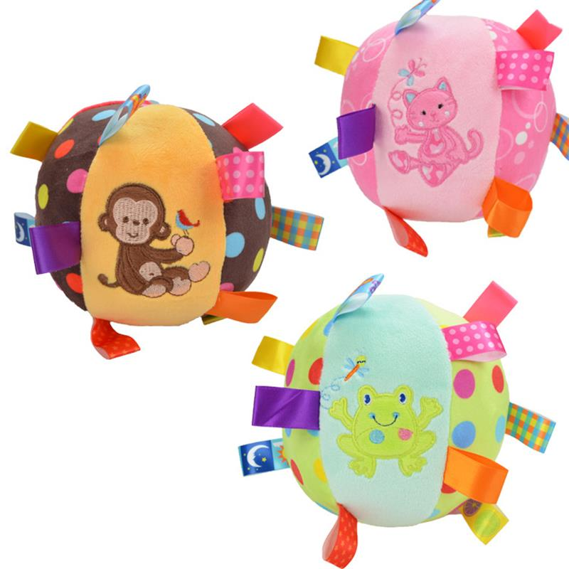 Cartoon Baby plush Ball toys colorful soft Monkey Kitty Frog Rattle Mobile ring bell Toy brinquedos juguetes para bebes jouet(China (Mainland))