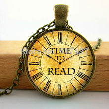 TIME TO READ Vintage Pendant Necklace, Book Lover Quote Jewelry ,Clock Watch Art Photo Glass, Cabochon Dome Necklace Pendants(China (Mainland))