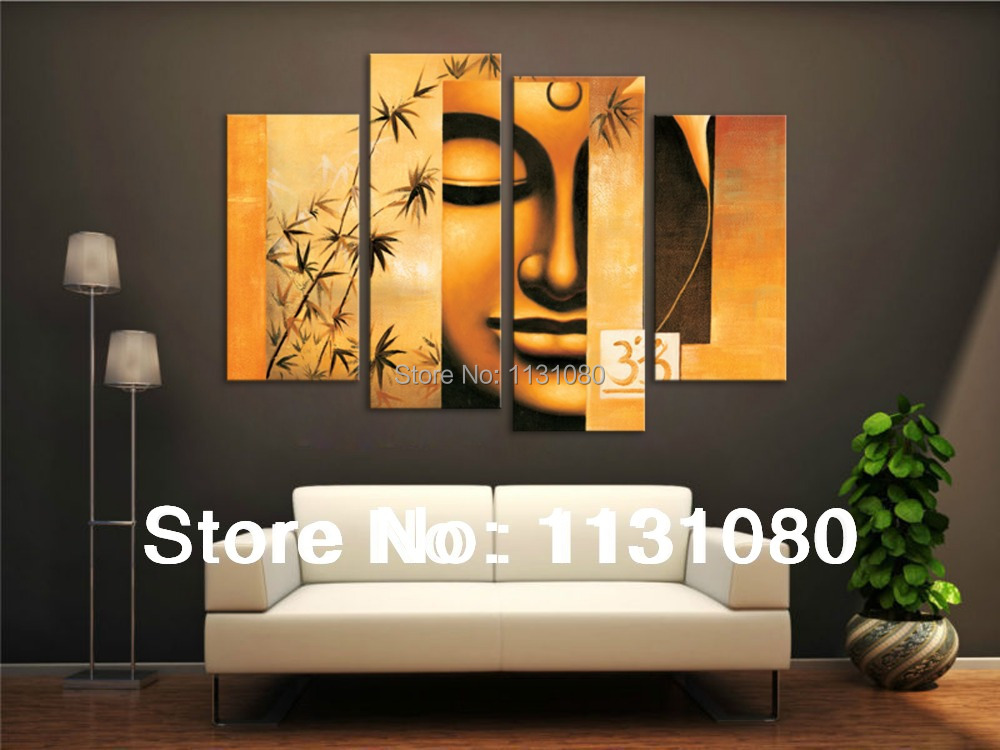Budda 4 Panels Oil Painting On High Canvas Painting Ready