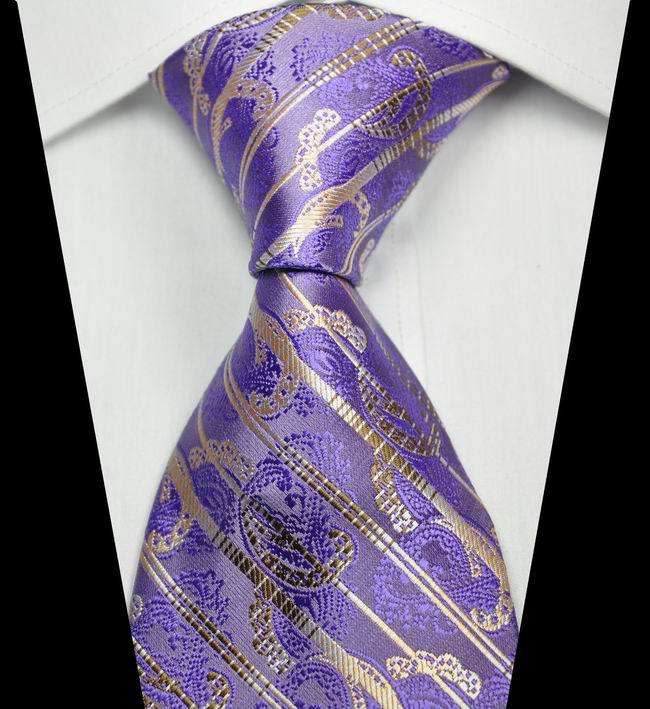 NT0342 Purple Brown Stripe Smooth Man s Jacquard Woven Silk Polyester Tie Classic Business Party Wedding