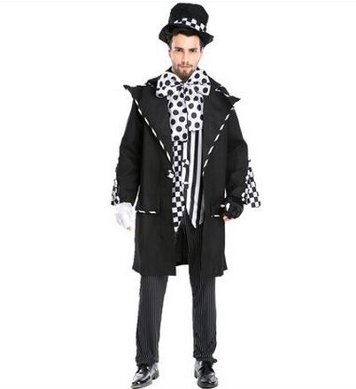 magic costume for men adult magician costume dark magician costume clown costumes halloween cosplay carnival clothing(China (Mainland))