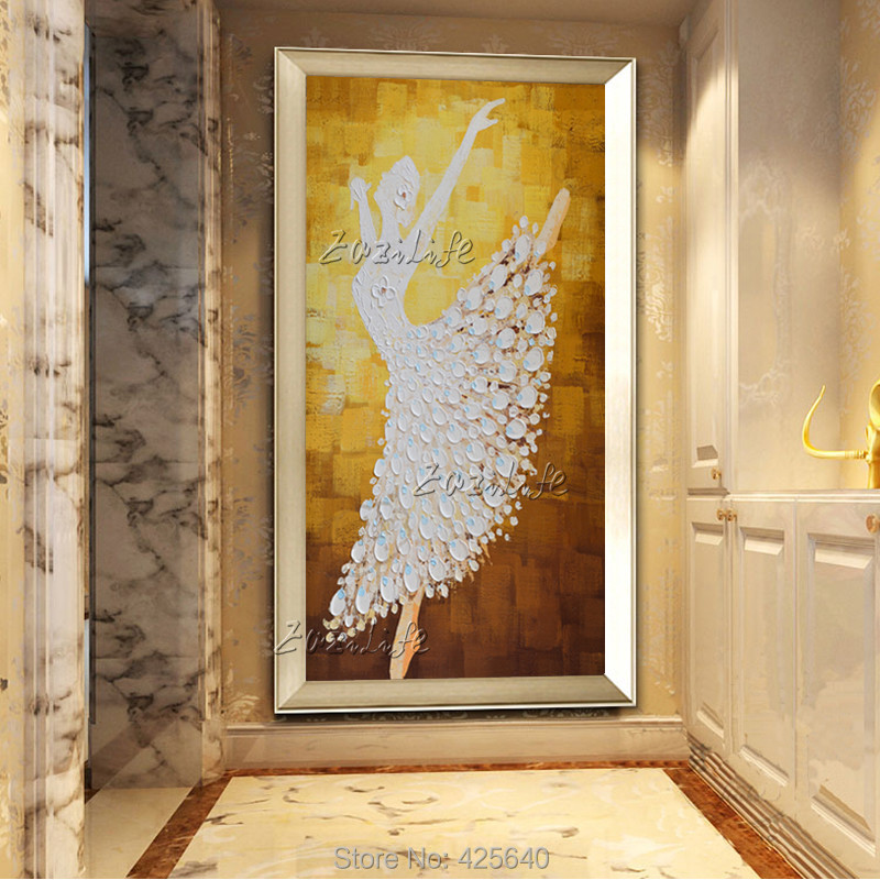 Buy Oil painting On Canvas Ballet Dancer Wall Pictures Large Abstract Wall Art Palette Knife Hand Painted Cuadros Home Decoracion 2 cheap