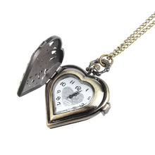 Selljimshop Retro Bronze Alloy Hollow Out Heart Pocket Necklace Watch Christmas Gift(China (Mainland))