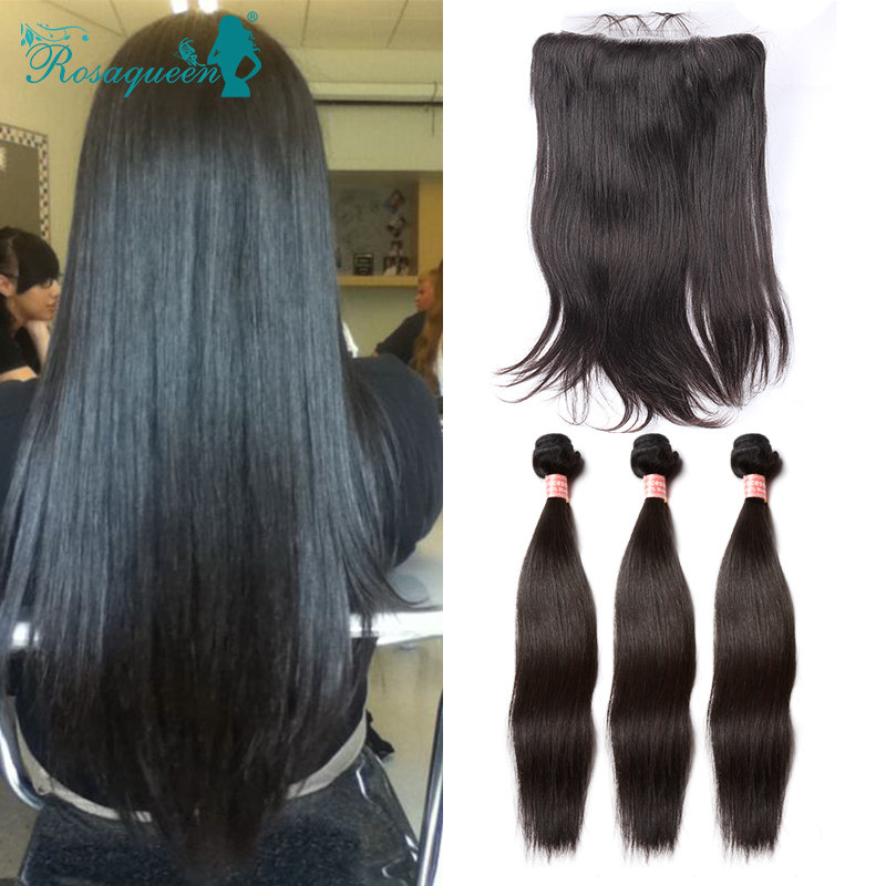 13x6 Lace Frontal Closure With Bundles Brazilian Virgin Hair Straight With Lace Frontal Human Hair Weft With Lace Frontal<br><br>Aliexpress