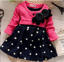 Free Shipping new fashion 100% Cotton Baby girl dresses Kids Children's Lovely princess Two Tones Splicing Polka Dots Dress