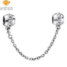 925 Sterling Silver Hearts Security Chain European Allure Beads Match Pandora Fashion Bracelet Necklace Pendant DIY Unique Jewellery