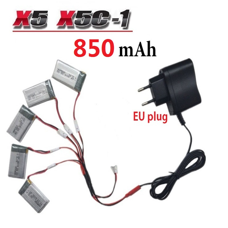 850mAh 3.7V LiPo Battery + AC Charger Euro Plug for SYMA X5C-1 X5C X5 X5SC X5SW JJRC H9D H5C RC Drone Quadcopter Spare Parts Set(China (Mainland))