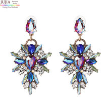 3 colors JUJIA 2017 New arrival Hot Earring good quality Crystal not acrylic Multicolor Special Bohemia Big Earrings for Women(China (Mainland))