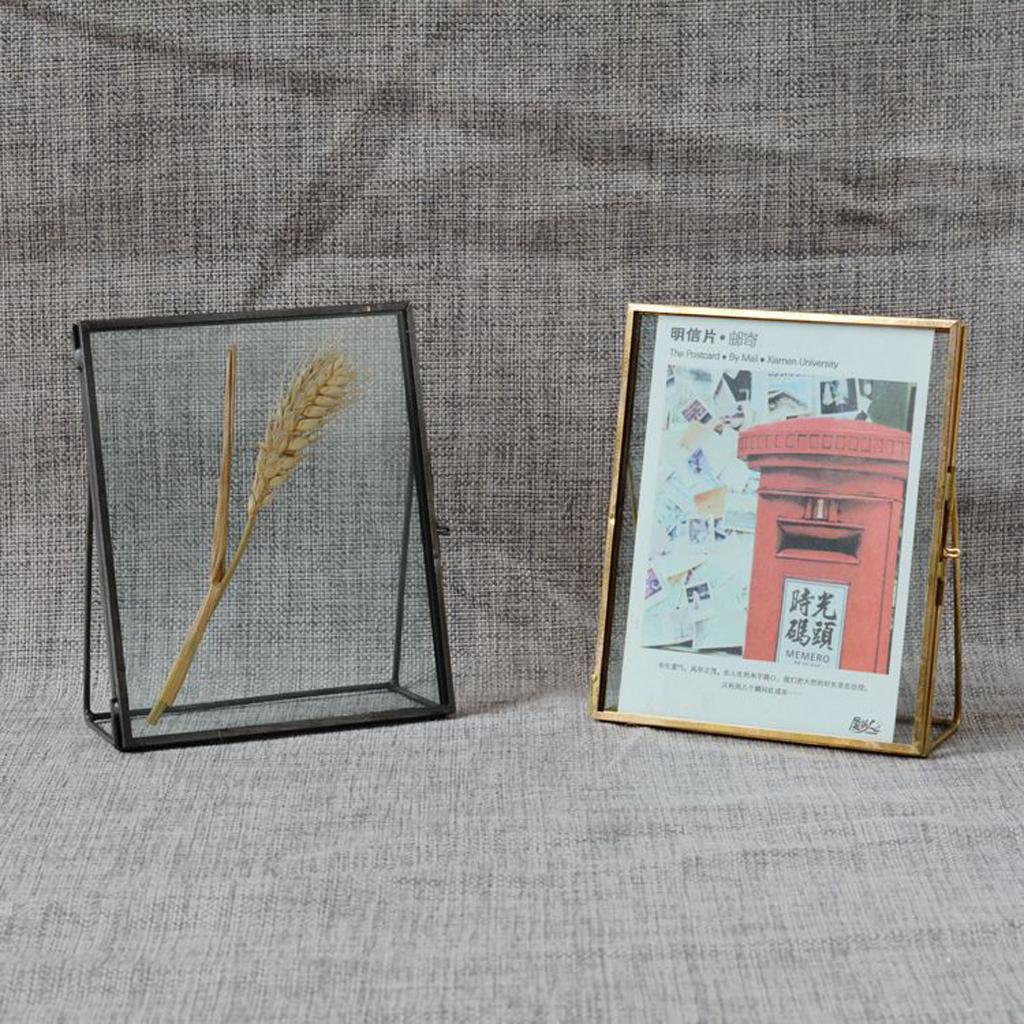 Set of 4 Antique Brass Glass Family Photo Picture Frame Portrait Modern Elegant Tabletop Desk Glass Photo Frame Home Decor Gift